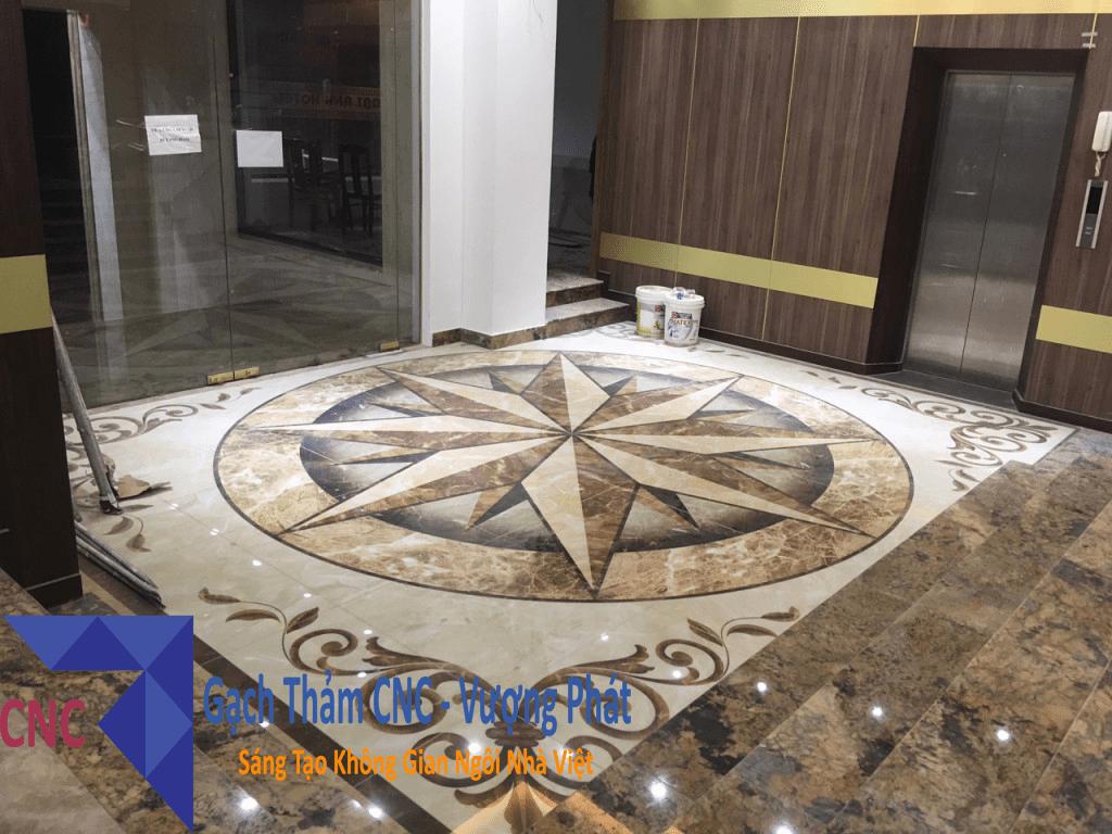 Thi công thực tế gạch thảm tại sảnh khách sạn TP.Đà Nẵng