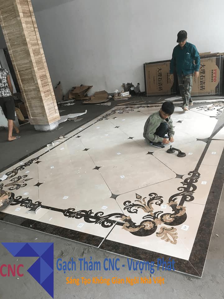 Môt trong những mẫu gạch thảm thi công thực tế của CNC - Vượng Phát