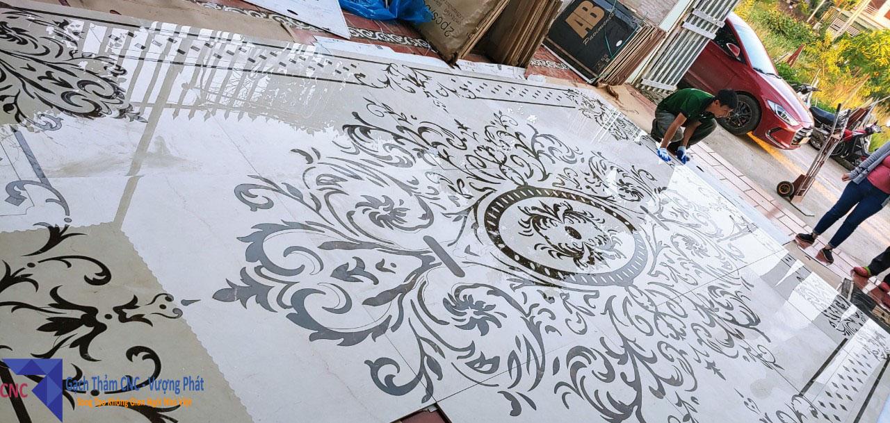 Mẫu gạch thảm đen trắng