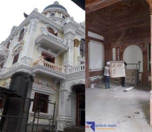 Hình ảnh thi công thực tế gạch thảm trang trí tại lâu đài tỉnh Nghệ An